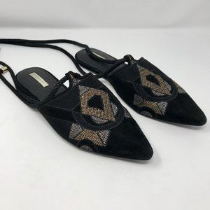 H&M Suede Pointed Toe Tribal Flats